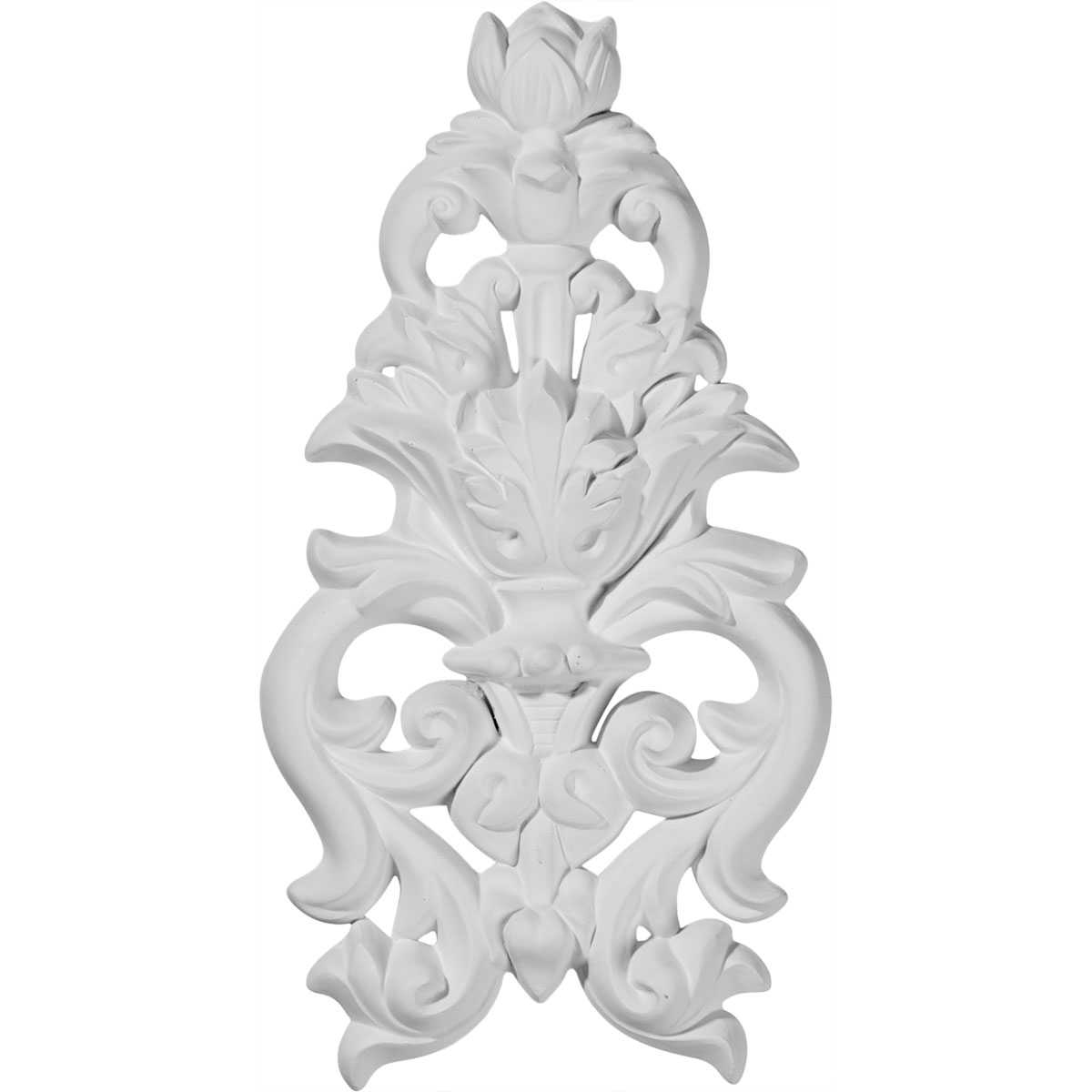 Ekena Millwork Dauphine 9 1/2''H x 4 7/8''W x 1''D Flower and Leaves Drop Onlay