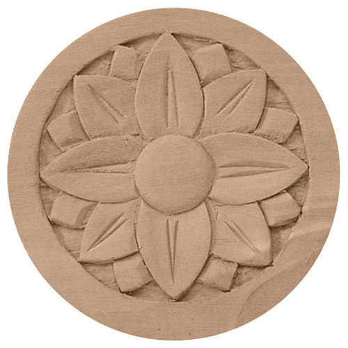 Ekena Millwork ROS05X05BECH 5 inch W x 5 inch H x . 75 inch P Bedford Rosette, Cherry, Architectural Accent