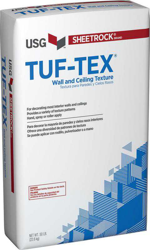 Sheetrock Tuf-TeX General Purpose Wall and Ceiling Texture, 50 lb, Bag, Gray to Off-White, Powder