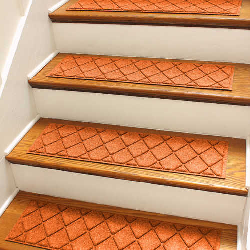 Bungalow Flooring Aqua Shield Orange Argyle Stair Tread (Set of 4)