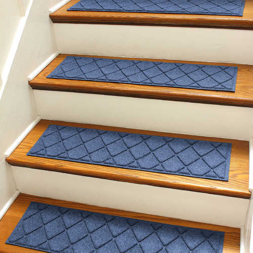 Bungalow Flooring Aqua Shield Navy Argyle Stair Tread (Set of 4)