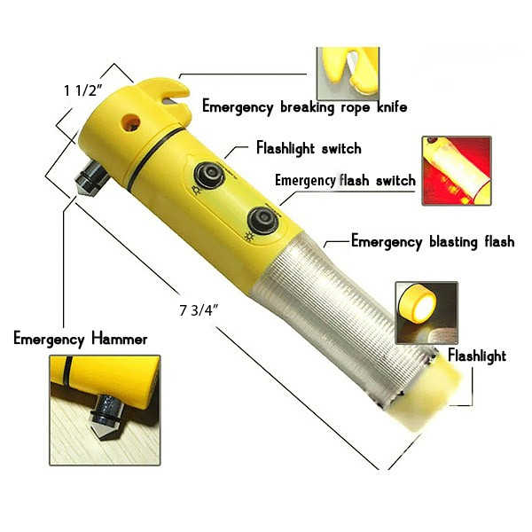 5 in 1 Safety Hammer Flashlight LED Red Beacon Light Cutter Tool Kit with Magnetic Base