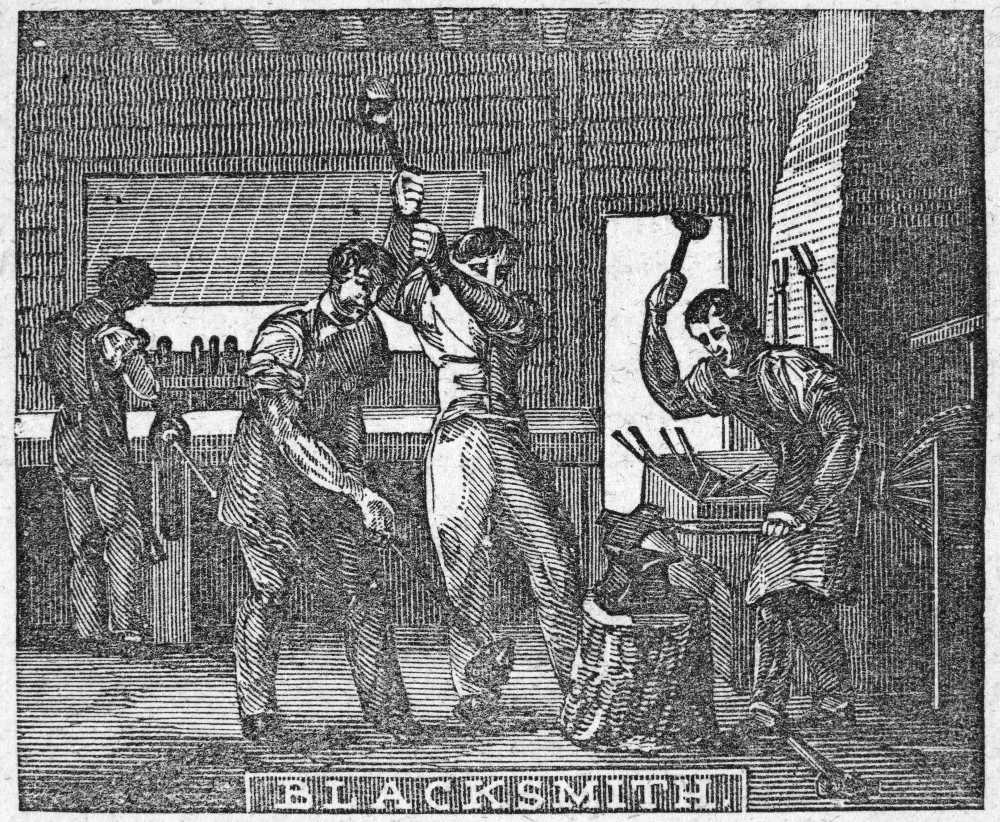 BlacksmithS Forge 1859 Nthe Blacksmith And The Nailer Wood Engraving American 1859 Rolled Canvas Art - (18 x 24)