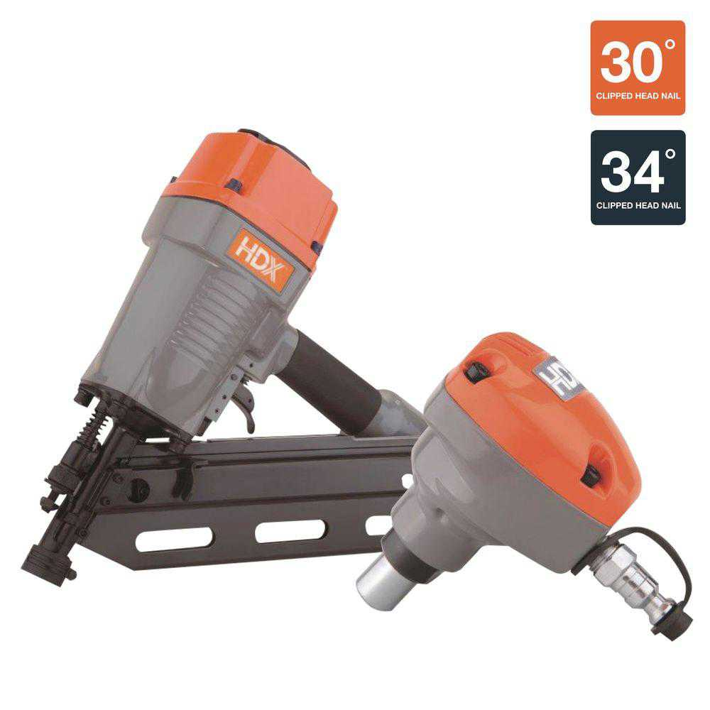 HDX Pneumatic 34 Degree Framing Nailer W/ Palm Nailer Air Compressors & Nail Gun HDXPFRPNCKWN
