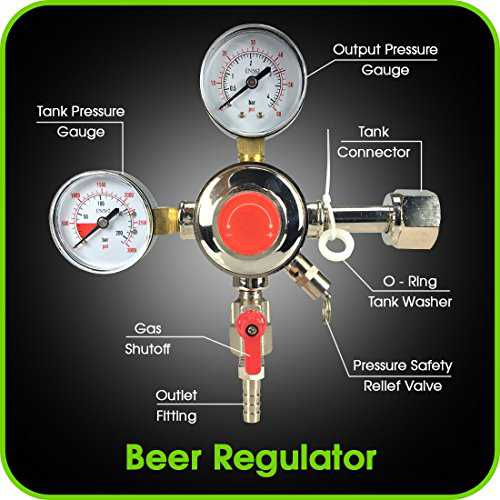 Co2 Beer Regulator Dual Gauge Draft Beer Dispensing Kegerator Heavy Duty 0 to 60 PSI - 0 to 3000 Tank Pressure CGA-320 Inlet Connection with 3/8' O.D. Outlet Barb Features Safety Pressure Relief Valve