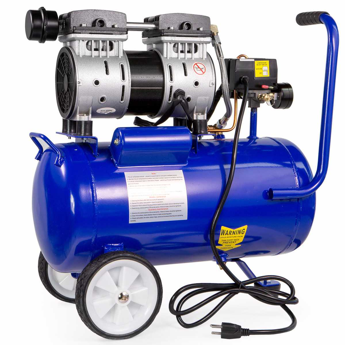 6.3GAL 1HP Elite Quiet Oil Free Motor Steel Air Compressor Tank with Wheels Tool