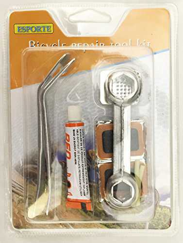 Bicycle Repair Tool Kit with Glue and Patches for Tires