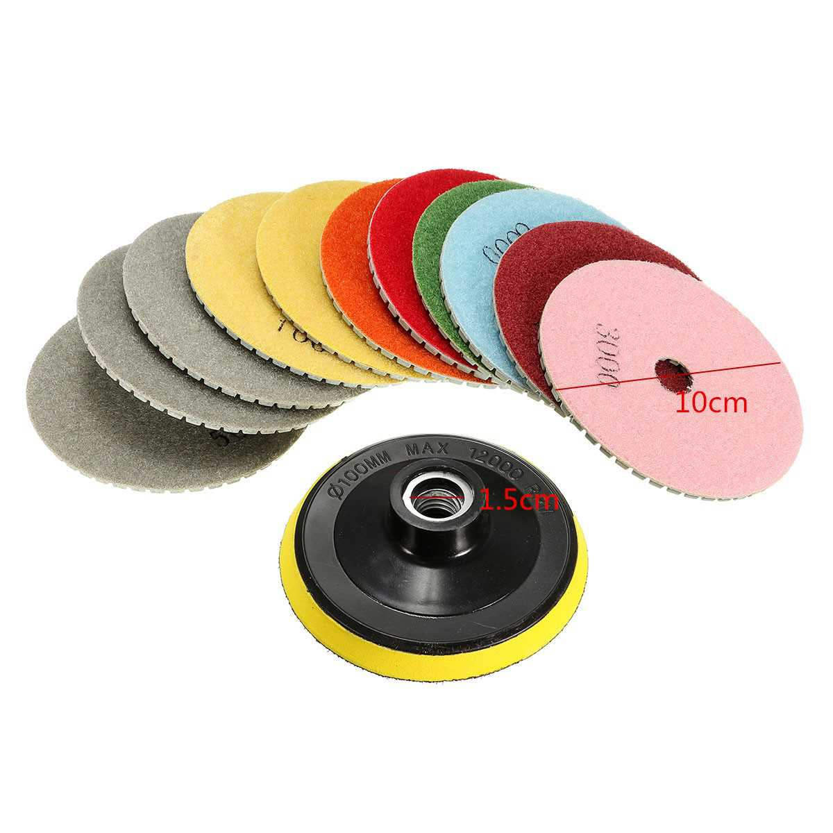 12pcs 4'' M14 Diamond Polishing Pads Wet Dry Set Kit For Granite Concrete Marble New