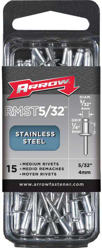 Arrow RMST5/32 Medium Rivet, 5/32 in Dia x 1/4 in L, Stainless Steel