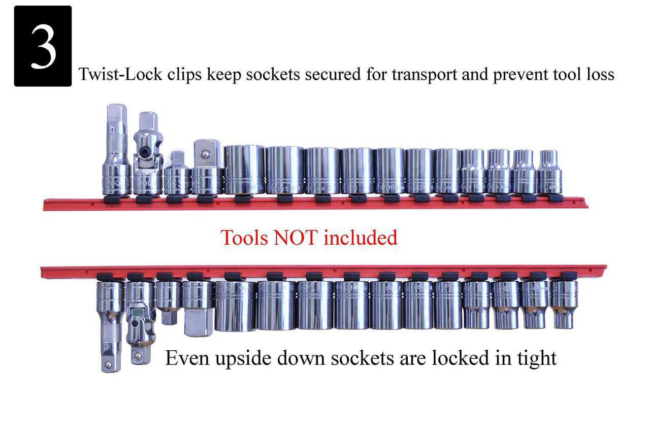 ML TOOLS Twist Lock Socket Rail with Tray (Holds 90 Sockets) - Multi-Drive Universal Socket Boss Rail Set - Socket organizer Set - Made in USA. Lifetime Guarantee! - T8252 (Blue & Red)