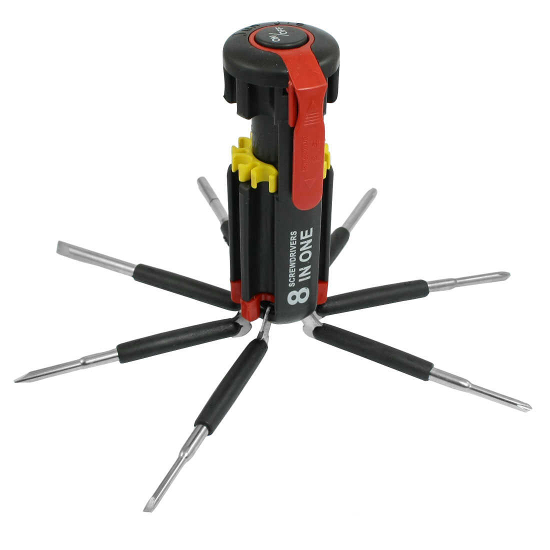 8 in 1 Folding Phillips Slotted Round Screwdriver w 6 LEDs Torch