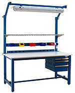 BenchPro KW3696 Kennedy Heavy Duty Steel Production Bench with Solid Maple Wood Top, 6600 lbs Capacity, 96' Width x 30' Height x 36' Depth