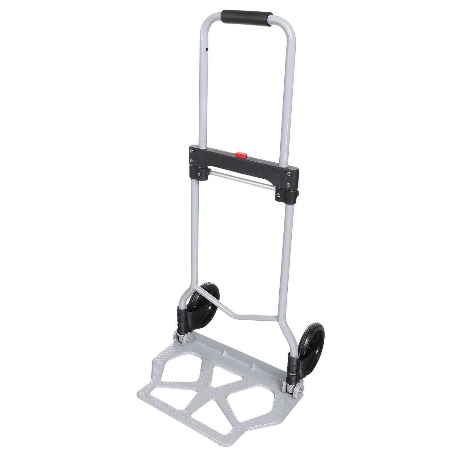 Portable Folding Hand Truck Dolly Luggage Carts, Silver, 220 lbs Capacity, Industrial/Travel/Shopping WLT
