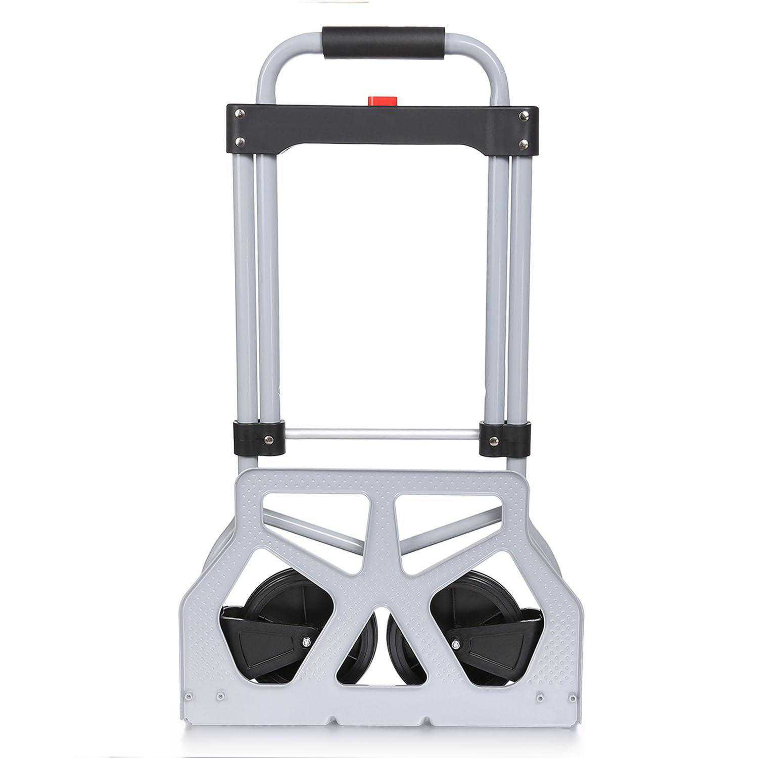 Portable Folding Hand Truck Dolly Luggage Carts, Silver, 220 lbs Capacity, Industrial/Travel/Shopping CCGE