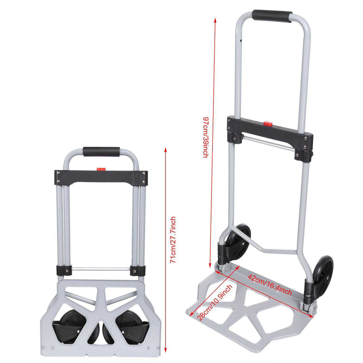 Portable Folding Hand Truck Dolly Luggage Carts, Silver, 220 lbs Capacity, Industrial/Travel/Shopping BlETE