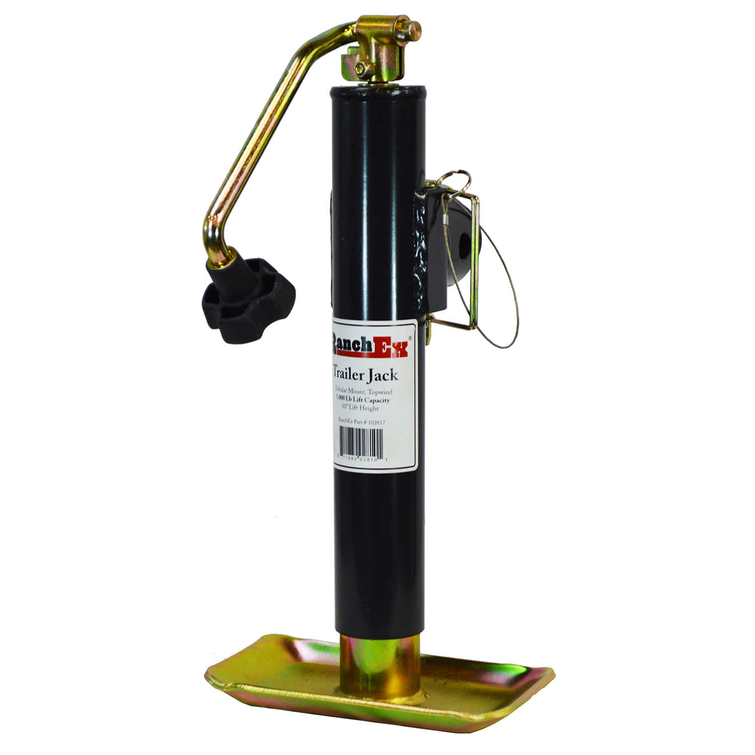 RanchEx Tubular Mount Top wind Trailer Jack, 5,000 lb. Lift Capacity, 10' Lift Height