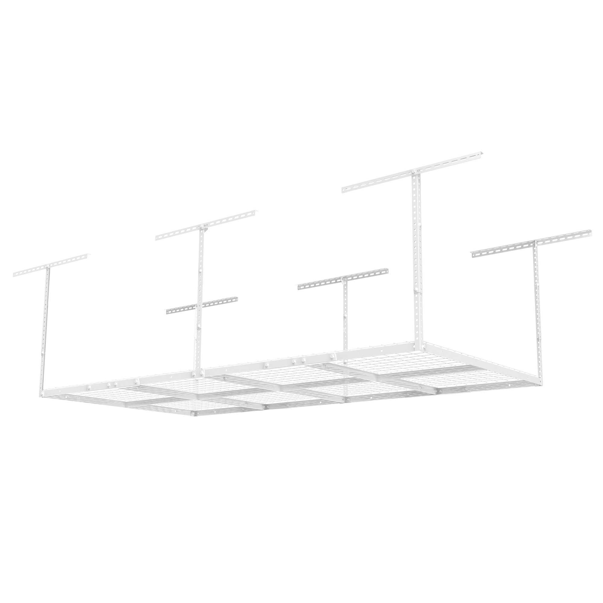 FLEXIMOUNTS 4x8 Heavy Duty Overhead Garage Adjustable Ceiling Storage Rack, 96' Length x 48' Width x 40' Height, White