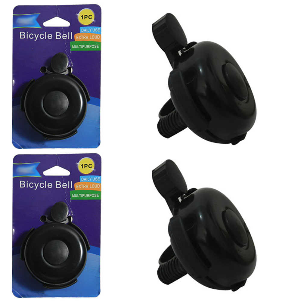 2 Bicycle Bell Bike Handlebar Bell Ring Loud Horn Cycling Black Classic Safety