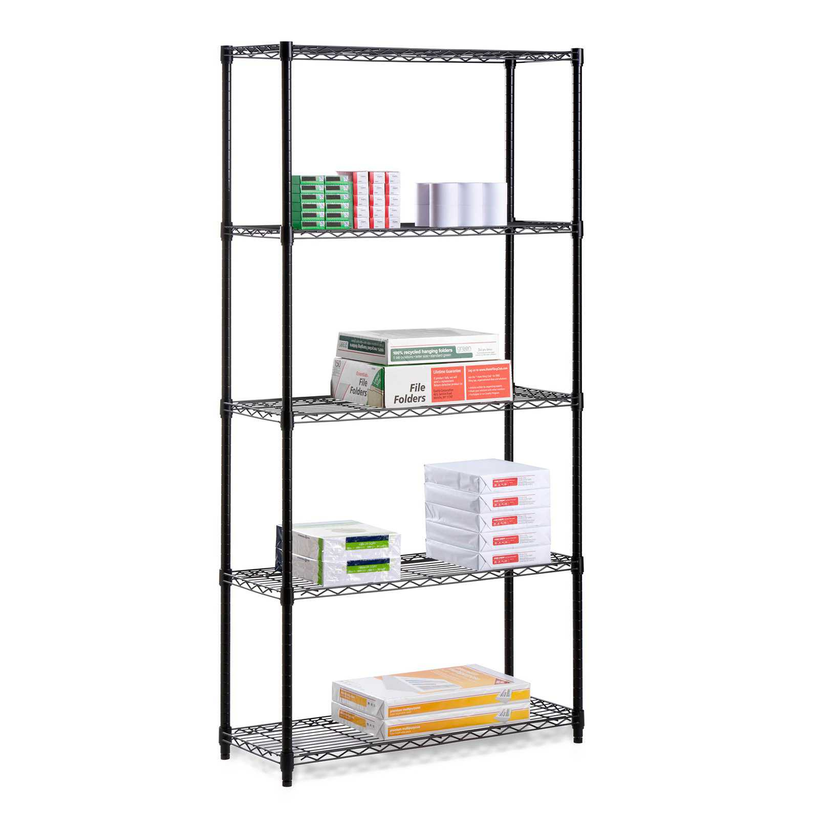 Honey Can Do 5-Tier Storage Shelves 18x36x72', 350 Lbs, Black