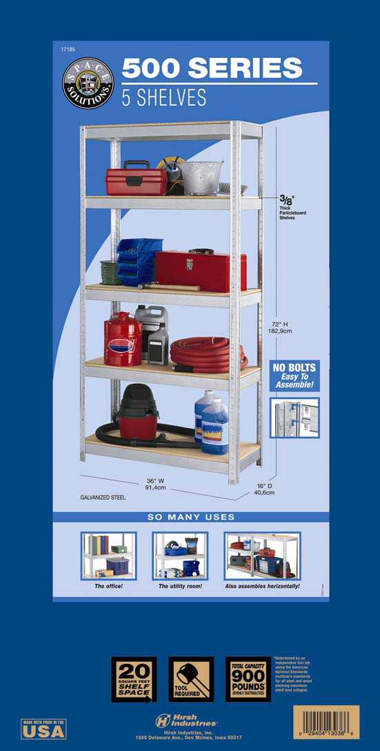 Space Solutions 500 Series 5 Shelf Shelving, Galvanized Finish