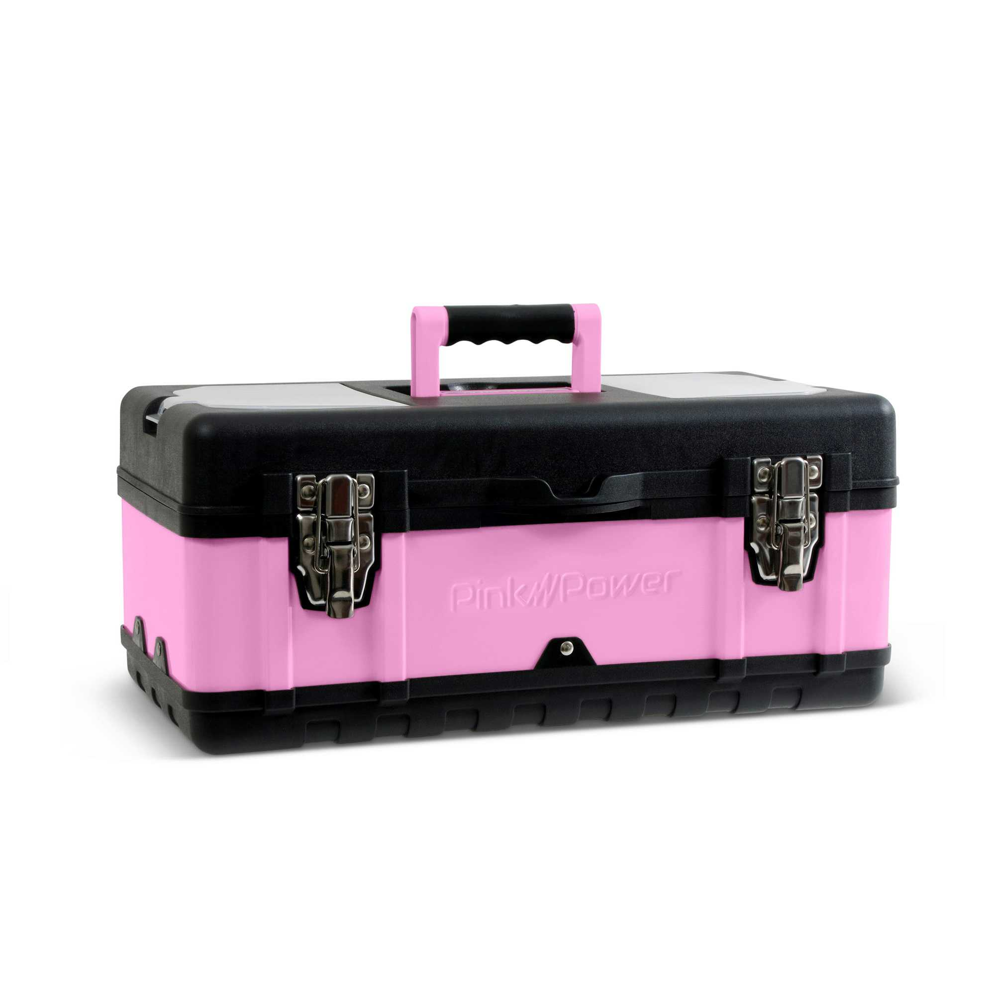 Pink Power 18' Portable Aluminum Tool Box for Tool or Craft Storage- Locking Lid and Extra Storage Compartments